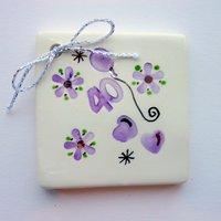 40th birthday tile tag 5cm sq