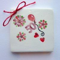 50th birthday tile tag 5cm sq