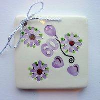 60th birthday tile tag 5 cm sq