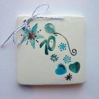 70th birthday tile tag 5cm sq