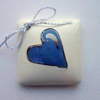Blue heart tile tag 4cm sq