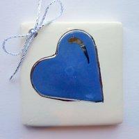 Blue heart tile tag 5cm sq