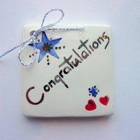Congratulations tile tag 5cm sq