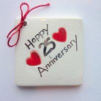 Happy 25th anniversary tile tag 5cm sq