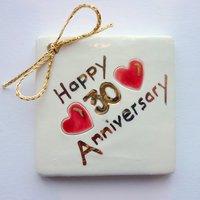 Happy 30th anniversary tile tag 5cm sq