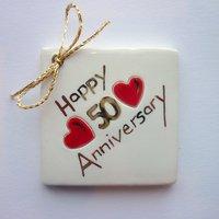 Happy 50th anniversary tile tag 5cm sq