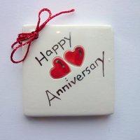 Happy anniversary tile tag 5cm sq