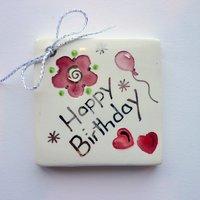 Happy birthday tile tag 5cm sq