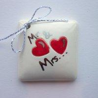 Mr & Mrs tile tag 4cm sq