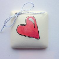 Pink heart tile tag 4cm sq