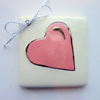Pink heart tile tag 5cm sq