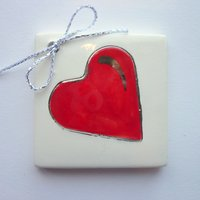 Red heart tile tag 5cm sq