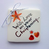 With love on your Christening tile tag 5cm sq