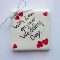 With love on your wedding day tile tag 5cm sq
